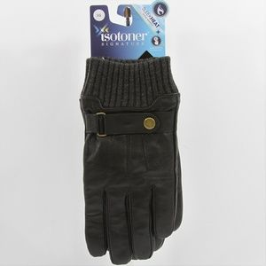 Isotoner Leather Snap-Cuff Driving Gloves  Blk Lg
